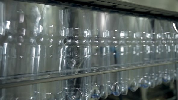 Thumbnail for Empty Plastic Bottles For Water Are Moving On The Conveyor