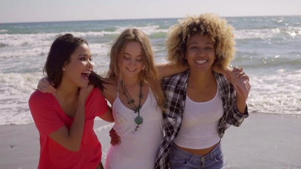 Thumbnail for Three Happy Vivacious Multiracial Girl Friends