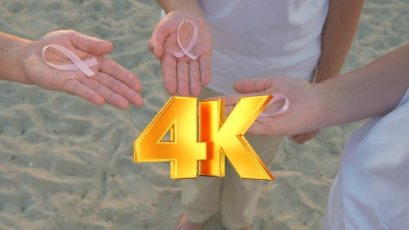 Thumbnail for Three Hands Holding Breast Cancer Awareness Ribbon