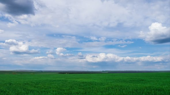 Thumbnail for Green Field And Cloudy Sky Beautiful Clouds Floating Over Green Bright Sky Beautiful Landscape