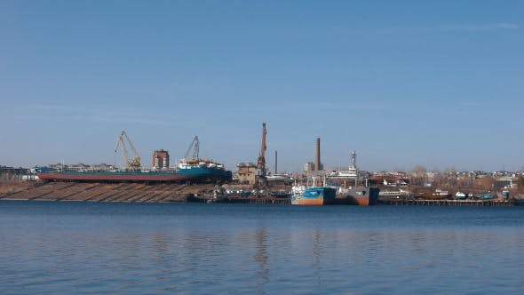 Thumbnail for The Industrial Part Of The Coast. View Of The Shipyard From The River.
