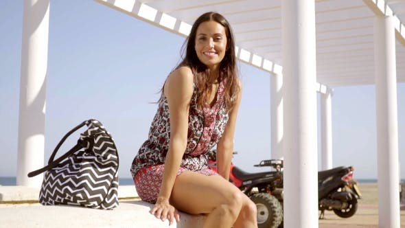 Thumbnail for Happy Relaxed Trendy Young Woman At The Beach