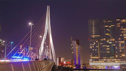 Thumbnail for People walking on Modern Bridge at Night