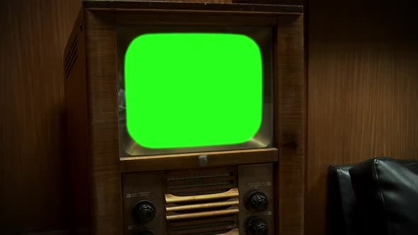 Thumbnail for Old Retro TV with Green Screen. Sepia Tone. Zoom In.