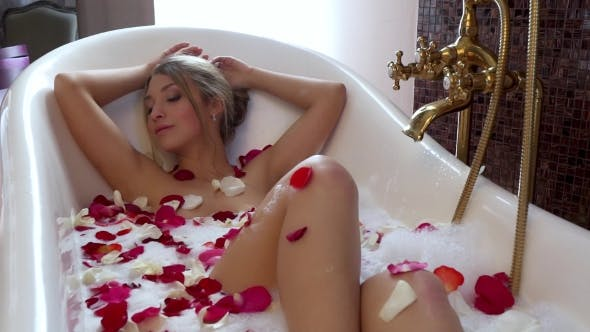 Thumbnail for Beautiful Sexy Girl In Bath With Rose Petals