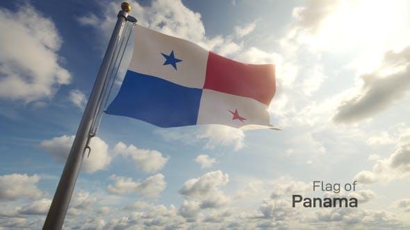 Panama Flag on a Flagpole
