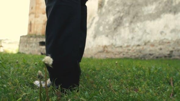 Thumbnail for Man Feet Walking On Grass