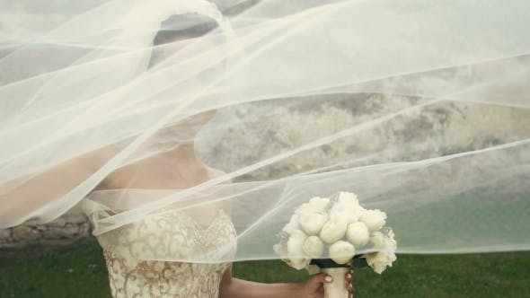 Thumbnail for Wedding Bride Fun With Veil On Wind