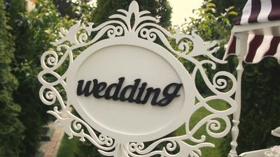 Wedding Pointer Sign At Ceremony