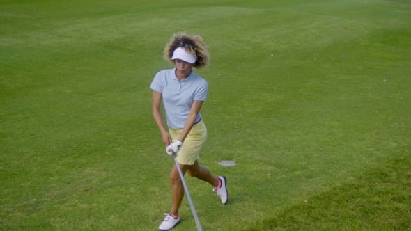 Thumbnail for Pretty Young Woman Golfer Strolling On The Course