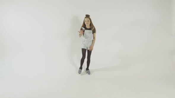 Thumbnail for Stylish Young Model Teenage Girl In Casual Style Clothes Dancing