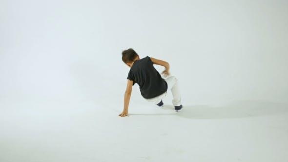 Thumbnail for Little Stylish Boy Break Dancing And Having Fun, Isolated On WhiteStudio Shot