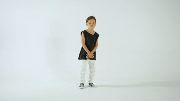 Thumbnail for Little Stylish Boy In Black T-Shirt Dancing And Having Fun, Isolated On White