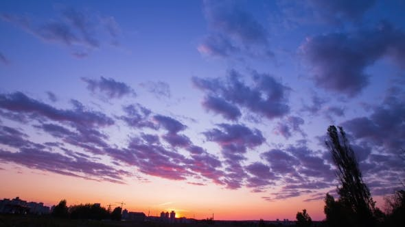 Thumbnail for The Movement Of Clouds At Sunset, Bright Rich Colors, Fast-moving Clouds