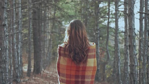 Thumbnail for A Woman Is Looking at the Inspirational Autumn Pine Forest Healthy Lifestyle Outdoors in Fall Season