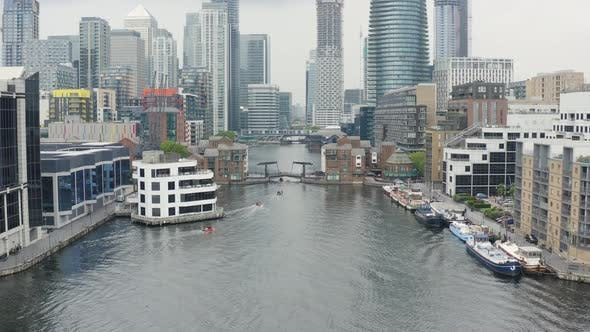 London Docklands Millwall Outer Dock. Tour Boats Bypassing Canal