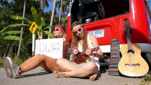 No War Appeal Sign Of Hippy Pacifism Girls On Road. .