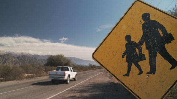 Thumbnail for Yellow Sign Crosswalk at School Zone in the Countryside.