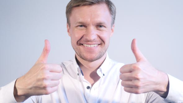 Thumbnail for Success, Businessman Portrait with Both Thumbs Up