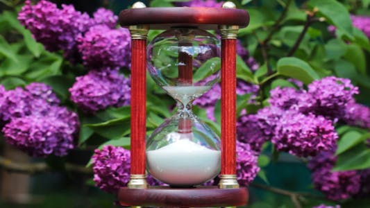Thumbnail for Hourglass On The Background Of Blooming Lilacs