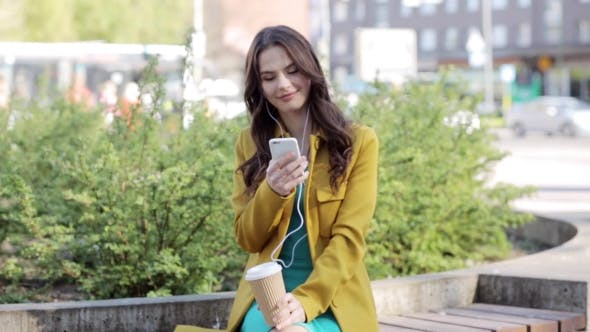 Thumbnail for Happy Young Woman With Smartphone And Earphones 19