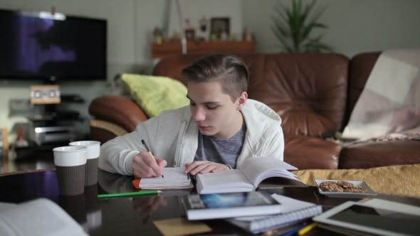 Cover Image for A Handsome Student Writting Notes In The Notebook.