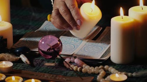Magic ritual with tarot cards
