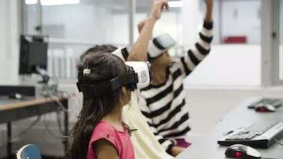 Multietnic Children Wearing Virtual Reality Glasses