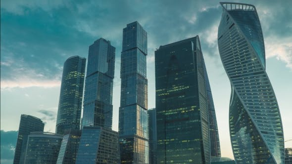 Thumbnail for Skyscrapers of Moscow City Business District in Evening