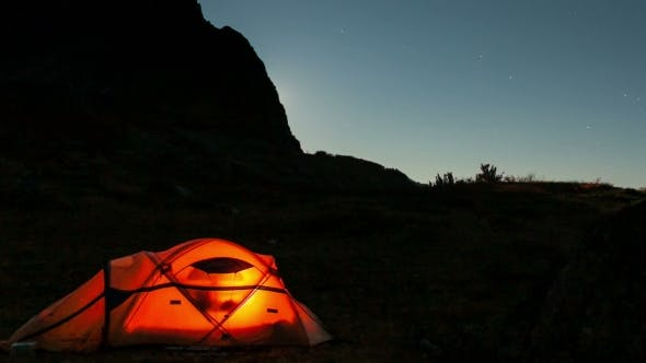 Thumbnail for Moving Moon Above Tent At Night