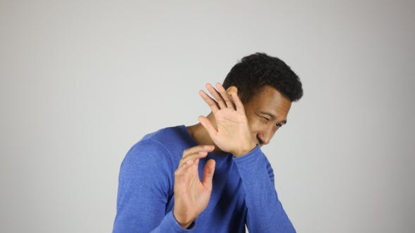 Afraid Black Man Portrait
