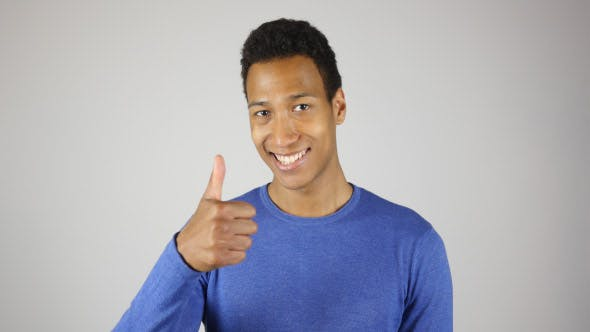 Thumbnail for Positive Black Man Portrait, Thumbs Up for Success