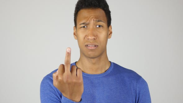 Thumbnail for Fuck you, Showing Middle Finger, Gesture by Black Man