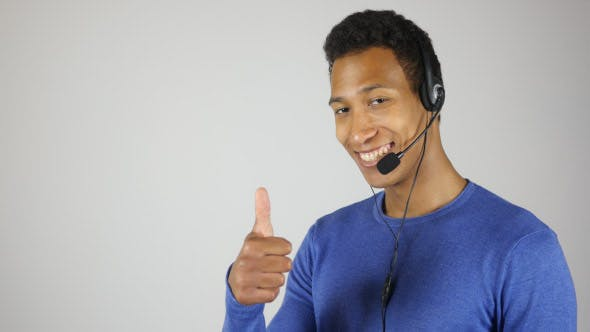 Thumbnail for Smiling Call Center Agent, thumbs Up