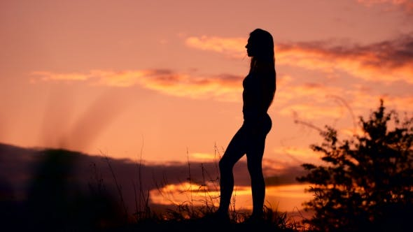 Thumbnail for Silhouette Of The Woman Standing Lonely At The Field During Beautiful Sunset
