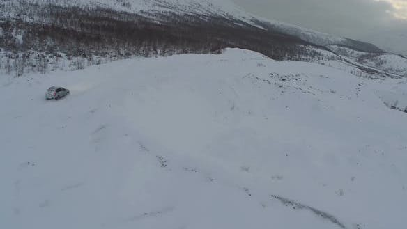 Traveling in Winter Mountains, Aerial View