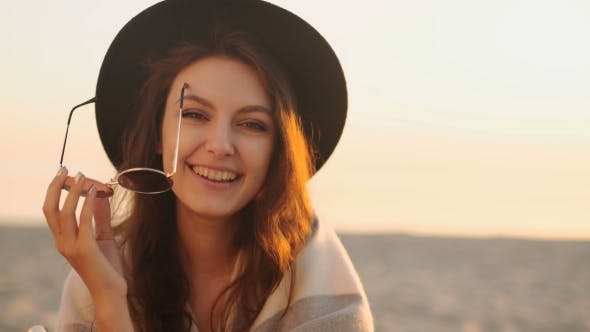 Thumbnail for Portrait of Beautiful Young Woman on the Beach at Sunset