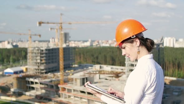 Thumbnail for Woman Architect Inspects The Construction Site