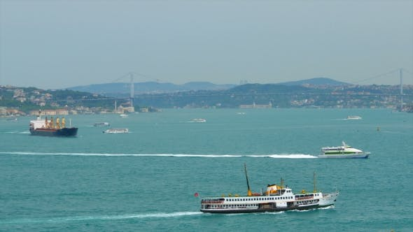 Thumbnail for Istanbul. Sea Traffic In Bosphorus Strait