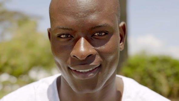 Of Smiling Handsome Bald Black Man