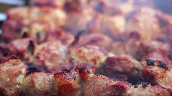 Barbecue Meat Grilling On Charcoal. Tasty Grilled Meat. . Pork Meat