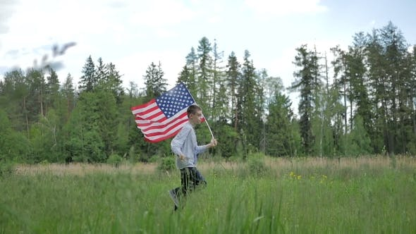 Thumbnail for Happy Boy With American Flag Running