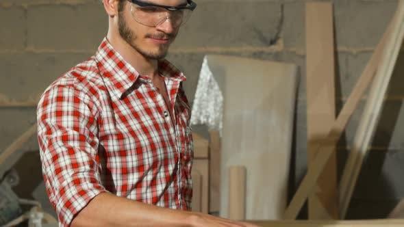 Thumbnail for Professional Carpenter Grinding Wood, Making Furniture 1080p