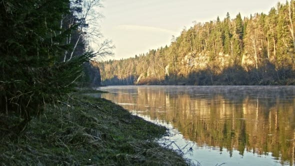 Thumbnail for Veiw Of Mountain Misty River Landscape Of Chusovaya River In Siberia, Ural, Russia