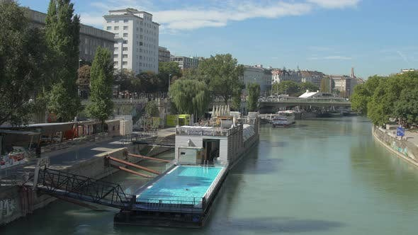 Danube Canal with Badeschiff