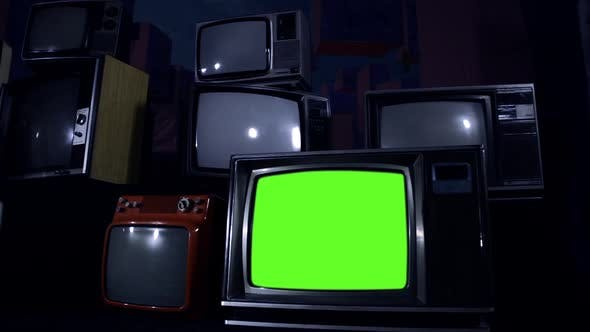 Thumbnail for 1980s Tvs Turning On With Green Screen. Dolly Shot. Night Tone.