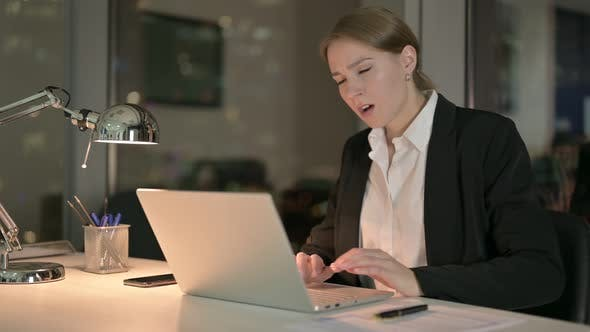 Thumbnail for Tired Businesswoman Having Back Pain in Office at Night