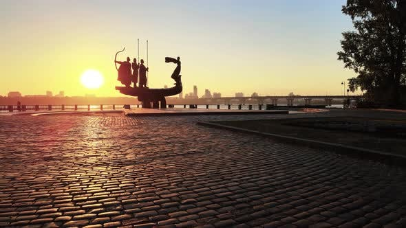 Thumbnail for Kyiv, Ukraine - a Monument To the Founders of the City in the Morning at Dawn. Aerial