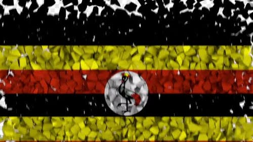 Uganda Flag Breaking Rocks Transition