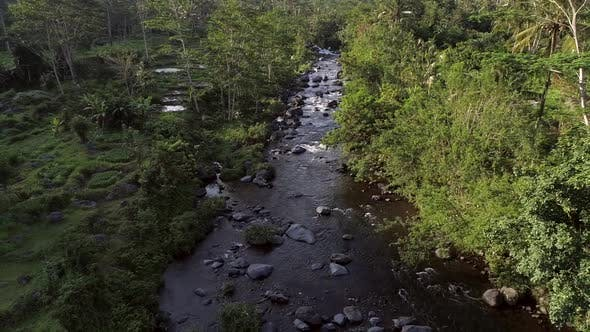 Thumbnail for Aerial view of river flowing between tropical forest, Indonesia.